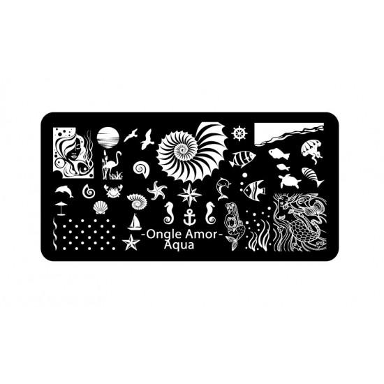 Aqua - Plaque de stamping | ONGLE AMOR