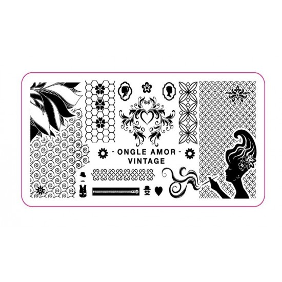 Plaque stamping VINTAGE | ONGLE AMOR