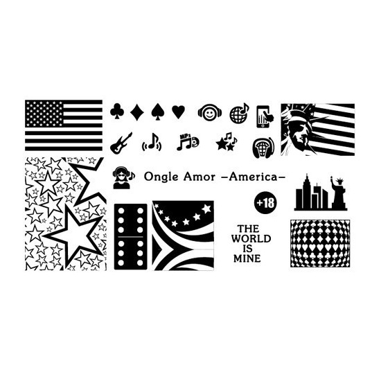Plaque stamping AMERICA | ONGLE AMOR