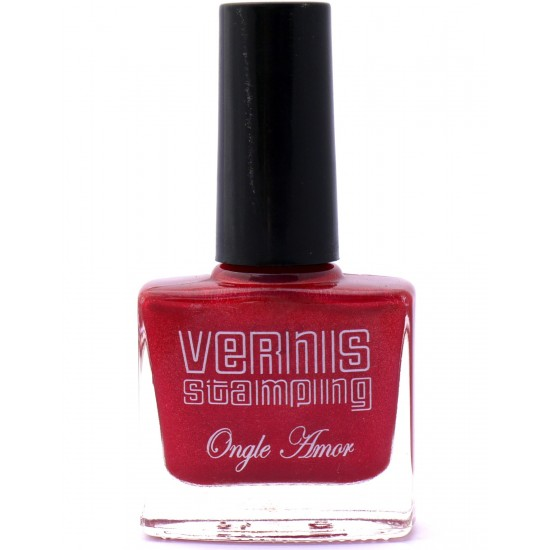 Vernis Stamping Rouge pailleté - ONGLE AMOR