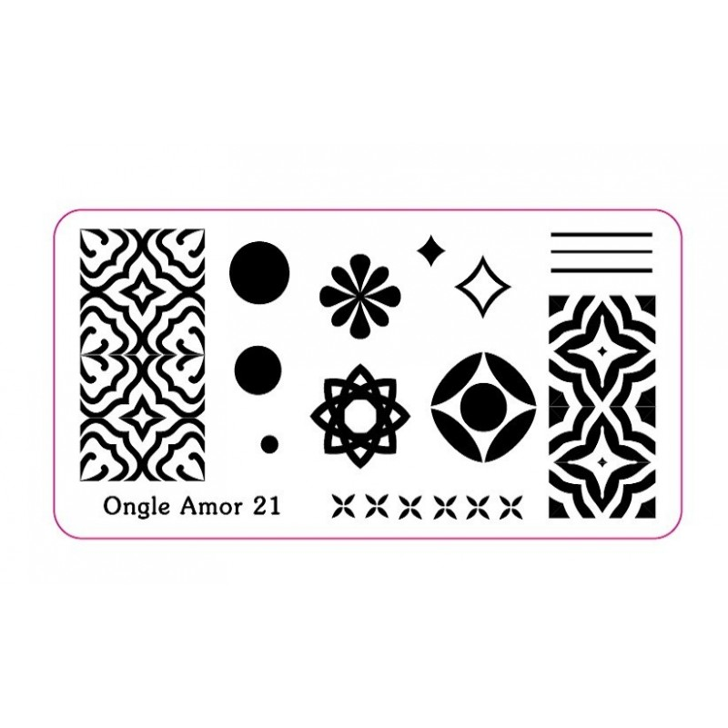 - Plaque de stamping N 21  ONGLE AMOR