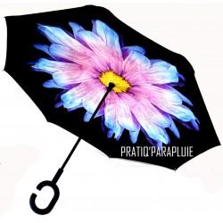 PARAPLUIE INVERSE Fleur Violette et Jaune -PRATIQ' PARAPLUIE