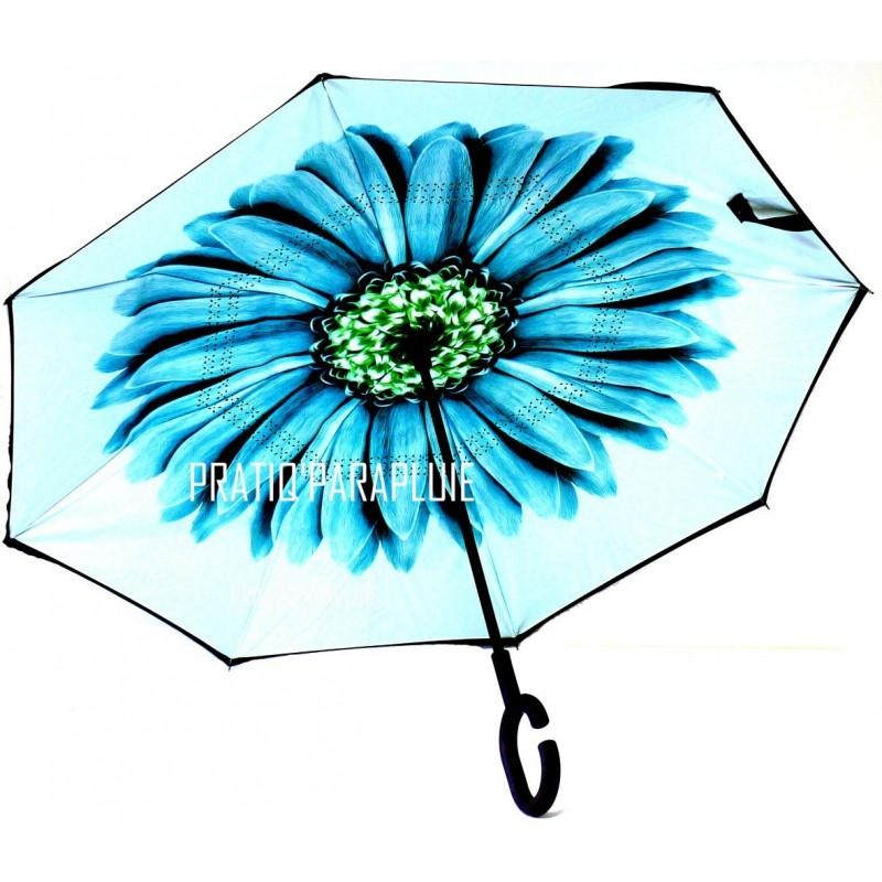 PARAPLUIE INVERSE Fleur Vert d'eau -PRATIQ' PARAPLUIE