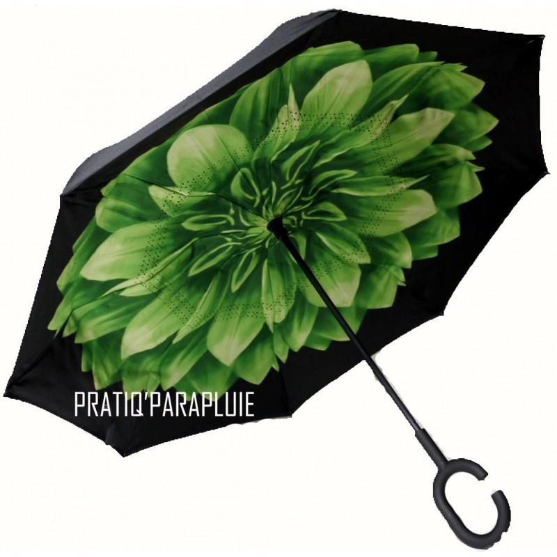 PARAPLUIE INVERSE Fleur Verte -PRATIQ' PARAPLUIE