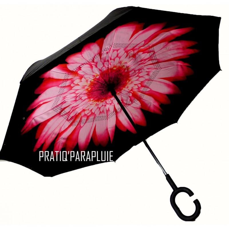 PARAPLUIE INVERSE Fleur Rose coeur Noir -PRATIQ' PARAPLUIE