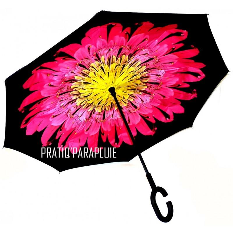 PARAPLUIE INVERSE Fleur rose coeur jaune -PRATIQ' PARAPLUIE