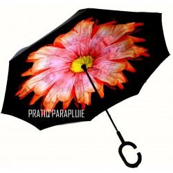 PARAPLUIE INVERSE Fleur orange coeur jaune -PRATIQ' PARAPLUIE