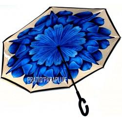 PARAPLUIE INVERSE Fleur bleu soutenu -PRATIQ' PARAPLUIE