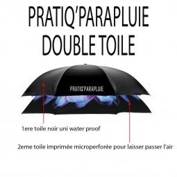 PARAPLUIE INVERSE PAPILLON NOIR ET ROSE -PRATIQ' PARAPLUIE