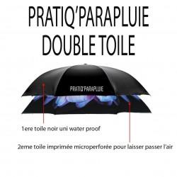 PARAPLUIE INVERSE Fleur Bleu fond blanc -PRATIQ' PARAPLUIE