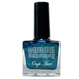 Vernis Stamping Bleu  Pailletté - ONGLE AMOR