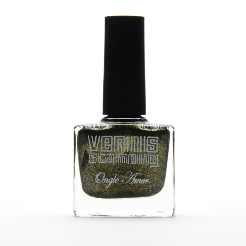 Vernis Stamping Anthracite Pailleté - ONGLE AMOR